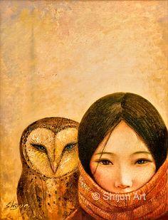 """Girl With Owl"" oil Painting 2011© Shijun Munns 黄诗筠 www.shijunart.com www.facebook.com/shijunart #Art #OilPaintings #painting  #Portrait #Artist #artwork #originalart #artist #homedecor #wallart #gallery #exhibit #create #collection #women #ShijunArt #ShijunMunns www.shijunart.com #Owl Owl Art, Spirit Animal, Oeuvre D'art, Les Oeuvres, Amazing Art, Fine Art America, Fantasy Art, Art Prints, Artwork"