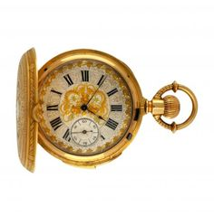 Gold pocket watch with sound system Functions: Hours, quarters and minutes repetition Movement: Manual winding The sound system needs revision.