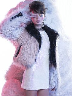 Glamorous Let It Snow Sequin Dress & Chaser Block Party Faux Fur Moto Jacket #nastygal
