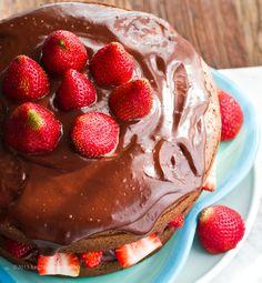 Double Chocolate Ganache Strawberry Layer Cake. Vegan!