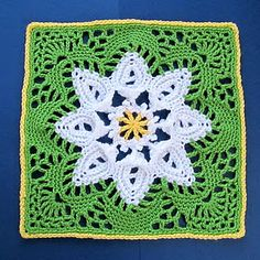 Daisy Scrapghan Block; link shows great afghan with this pattern.  Pattern on link but directly here: http://web.archive.org/web/20080106102727/http://www.angelfire.com/folk/celtwich/PuritanBS.html ✿⊱╮Teresa Restegui http://www.pinterest.com/teretegui/✿⊱╮