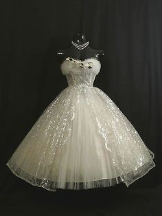 Vintage 1950's 50s Strapless White Silver Tulle Lace Prom Party Wedding Dress