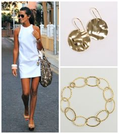 summer white is always right!  just a touch of gold adds to this simple & chic look-shop jewelya.com