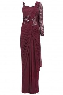 Maroon One Sleeves Floral Embroidered Drape Saree