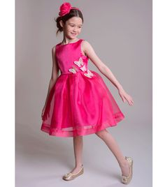 In a bold fuchsia hue this sleeveless dress from Innocence features a full, shimmering skirt and embroidered butterflies appliqued to the waist. - Polyester, Lining: 70 % Cotton, Polyester - Hand wash only Organza Dress, Pink Dress, Hue, Girls Dresses, Costume, Skirts, Cotton, Stuff To Buy, Rose Dress