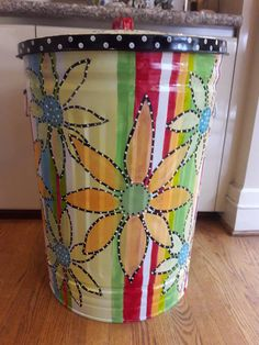 30 Gallon Decorative Hand Painted Galvanized Metal Trash Can w/Side Handles and Tight Fit Lid Painting Galvanized Metal, Painted Trash Cans, Rustic Outdoor Kitchens, Metallic Paint, Flower Pots, Colorful Backgrounds, Painted Furniture, Planter Pots, Art Pieces