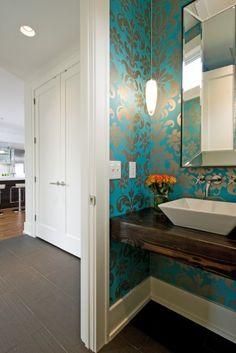 metallic teal & silver damask print wallpaper in powder room.. Stunning!