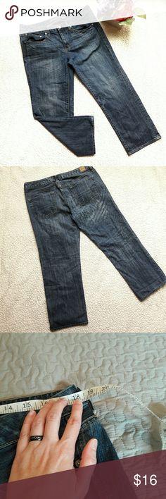 Long boy fit jean capris by American Eagle Super cute in like new condition denim capris. These are long and are very cute when cuffed at the bottom. Very comfortable! Measurements provided in pics above. They include the inseam, leg width and waist. True to size. From a smoke and pet free home. Fast shipping! Office - Vacation - Wedding - Fun - Dress up - date night - cruise - spring - summer *IF YOU LIKE MY ITEMS, please FOLLOW ME to see NEW ARRIVALS that are added weekly! * American Eagle…