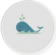 Whale PDF Cross Stitch Pattern Needlecraft by DailyCrossStitch Cross Stitch Sea, Small Cross Stitch, Cute Cross Stitch, Cross Stitch Kits, Counted Cross Stitch Patterns, Cross Stitch Charts, Cross Stitch Designs, Cross Stitch Embroidery, Whale Pattern