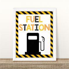 Printable Construction Birthday Table Sign, Food Station Construction Birthday Sign,Fuel Station Construction Birthday Sign INSTANT DOWNLOAD