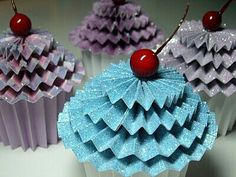 Paper cupcakes with cherry ontop!