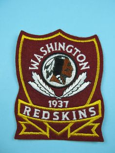 "NFL Washington Redskins Shield 1937 Patch Embroidered 4"" x 5"" Sew on Emblem 