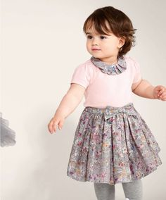 Liberty Wild Flower Pink Collared T-Shirt - Liberty Clothing - Mamas & Papas Little Girl Models, Little Girl Outfits, Toddler Outfits, Kids Outfits, Baby Girl Haircuts, Baby Haircut, Baby Girl Fashion, Toddler Fashion, Baby Girl Dresses