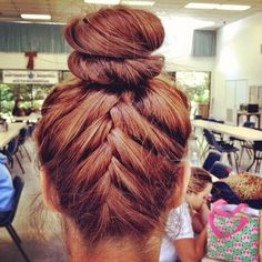 french braid with a bun this is amazing I <3 it
