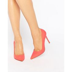 ASOS PERU Pointed High Heels ($33) ❤ liked on Polyvore featuring shoes, pumps, pink, pink stilettos, pointed toe high heel pumps, high heel shoes, pointed-toe pumps and pink pumps