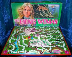 Jaime Sommers the Bionic Woman board game. it was pretty bright hot pink on the reverse Old Board Games, Vintage Board Games, Game Museum, The Beverly Hillbillies, Hogans Heroes, Bored Games, Monster Squad, Lets Play A Game, Bionic Woman