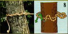 """ロープを芯に縛り付ける結び方のひとつ。""""Timber Hitch"""""""