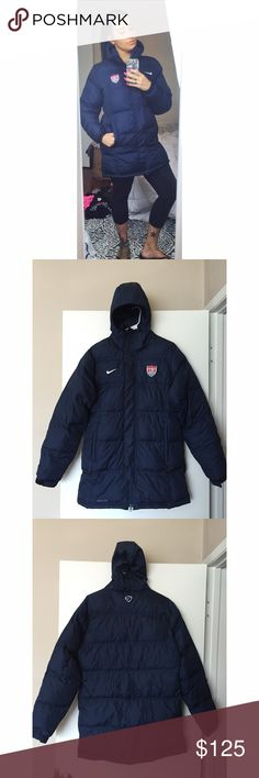 Nike USA Soccer Team Puffer Coat (Storm Fit) Worn a few times. No flaws. Tag says medium but runs a size bigger. I am normally an 8-12 medium/large depending on the garment type and it fits perfect. I will only sell at the listed price because this is not easy to come by and I'm not sure if I want to let it go. ➡️ No offers Nike Jackets & Coats Puffers