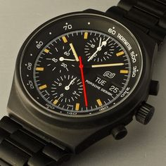 1972 Porsche Design Chronograph by Orfina. There are plenty of automotive-inspired watches and watch brands that partner with car companies. But the Porsche Design carry the design DNA and philosophy of the companys founder, Ferdinand Alexander Porsche. In 1972, he founded Porsche Design and his first product was a wristwatch, at that time there were no black watches. by danhenrycollection from Instagram http://ift.tt/1MtzxpX