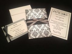Classic Black White and Grey Damask Wedding by TheBlushingBelle, $4.25