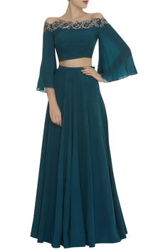 Buy Off shoulder embellished top with lehenga by Pooja Peshoria at Aza Fashions