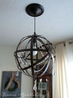 diy iron orb crystal chandelier, diy, lighting