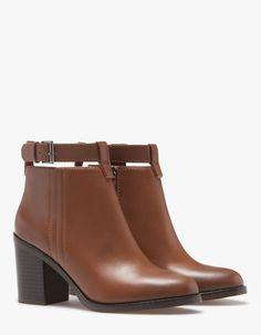 Zara Cuir Noir Bijoux Motard Cheville Bottes Taille UK7 EU40
