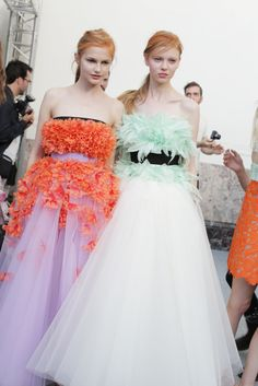 Flowers and feathers backstage at Giambattista Valli couture. [Photo: Delphine Achard]