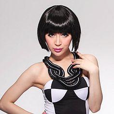 Монолитным короткий боб высококачественных синтетических Pure Black прямой парик волос – USD $ 12.99