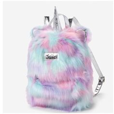 Justice Girl's Magical Unicorn Faux Fur Silver Pastels Mini Backpack Bag NWT #Justice #Backpack
