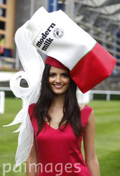 Model Aimee Nazroo poses in a Modern Milk hat at Royal Ascot on Ladies' Day.