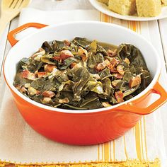 Southern-Style Collard Greens    Collards are a staple in Southern households. This classic side is flavored with bacon, ham, and vinegar and is great paired with chicken or beef.