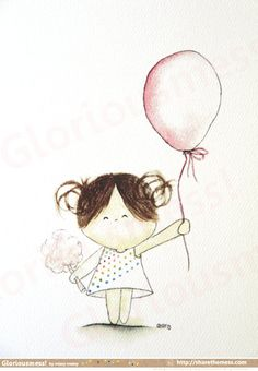 "Carnaval whimsical A5 arte grabado - ""¡ feliz día"" dice Little Girl CurlieQ - linda la ilustración infantil"