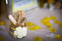 Here is a bunch of popsical sticks with date ideas for the bride and groom.