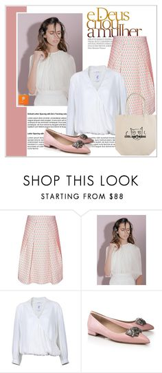 """""""Nude mood"""" by deeyanago ❤ liked on Polyvore featuring women's clothing, women's fashion, women, female, woman, misses, juniors, TrickyTrend, highneckblouse and popmap"""