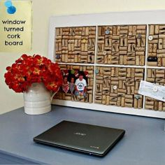 Old Window + Wine Corks = The coolest upcycled {DIY Cork Board} ever!!!!!!! by anne