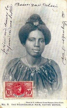 Fashionable Hair, Native Woman, Cote D'Ivoire c. 1900s. Photo: F. Arkhurst, Grand Bassam, Ivory Coast,