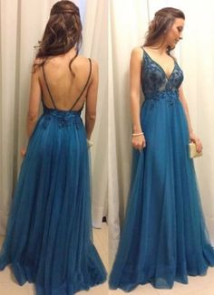 A-Line Spaghetti Straps Blue Tulle Prom Dress With Appliques CR 7592 A Line Prom Dresses, Tulle Prom Dress, Prom Party Dresses, Party Gowns, Sexy Dresses, Evening Dresses, Fashion Dresses, Formal Dresses, Types Of Fashion Styles