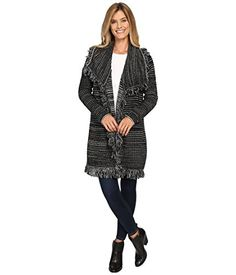 New Trending Outerwear: NYDJ Womens Outerwear Fringed Car Coat Black Outerwear MD (US 8-10). NYDJ Women's Outerwear Fringed Car Coat Black Outerwear MD (US 8-10)  Special Offer: $79.99  433 Reviews Soft wool blend jacquard with dramatic static stripes. Allover fringe trim. Draped fit for a cozy silhouette. Oversized fold-over collar. Long-sleeve coverage. Open front...