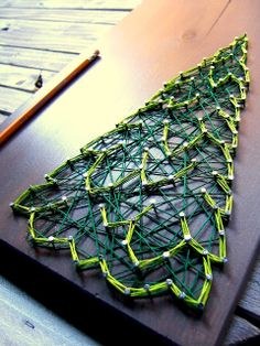 DIY Winter Evergreen String Art Pattern from Nine Red