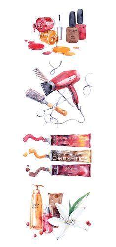 Watercolor Beauty Illustrations - Watercolor illustrations for Camille Albane Lomonosovsky