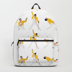 """Freddie Mercury -Our Backpacks are crafted with spun poly fabric for durability and high print quality. Thoughtful details include double zipper enclosures, padded nylon back and bottom, interior laptop pocket (fits up to 15""""), adjustable shoulder straps and front pocket for accessories. Dry clean or spot clean only. One unisex size: 17.75""""(H) x 12.25""""(W) x 5.75""""(D)."""