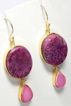 Beautiful Designer The Vcollection Natural Druzy Stud Dangle Earring Handmade Jewelry Collection 22k Yellow Gold Plated