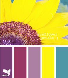 Palette inspired by sunflower petals Paint Schemes, Colour Schemes, Color Patterns, Color Combinations, Colour Chart, Colour Palettes, Sunflower Colors, Find Color, Design Seeds