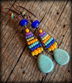 Howlite and Weaved Glass Beaded Earrings