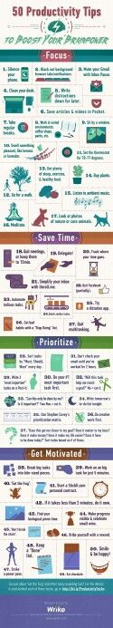 50 productivity tips to overcome tiredness