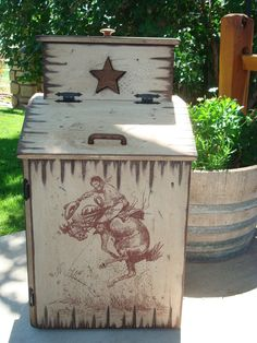 Wood Trash Can With Trash Can Bag Storage. Western Style Trash Can Storage…
