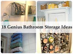 18 Genius Bathroom Storage Ideas  http://www.homemadehomeideas.com/18-genius-bathroom-storage-ideas/
