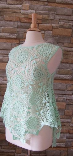 Crocheted summer cotton top/blouse by IngasHandKnits on Etsy