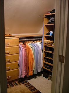 Closet with slanted wall
